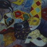 Carnival time,Venice, oil on paper