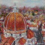 Duomo and beyond, Florence, oil on board
