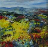 Distant Ochil Hills, Trossachs, oil on canvas