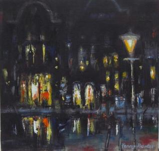 Night lights, Amsterdam, oil on board 9.5 x 10ins