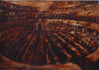 Amphitheatre of dreams, Colosseum, Rome, oil on paper